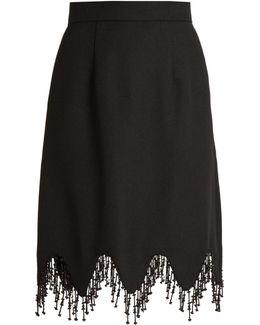 Beaded Tassel-trim Crepe Skirt