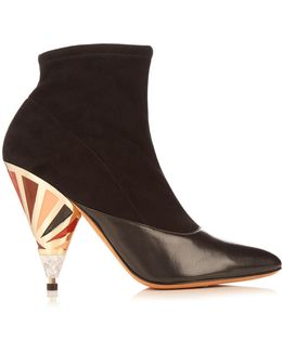 Cone-heel Suede Ankle Boots