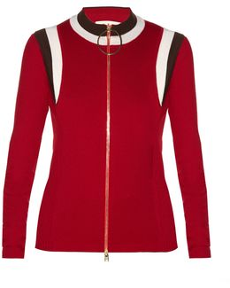 Zip-through Ribbed-knit Track Top