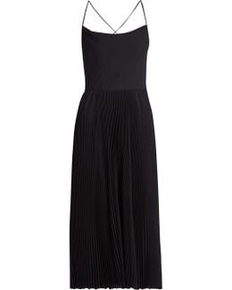 Cowl-neck Silk-georgette Pleated Midi Dress