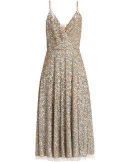 Sequin-embellished Sleeveless Midi Dress