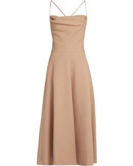 Wool And Silk-blend Crepe Midi Dress