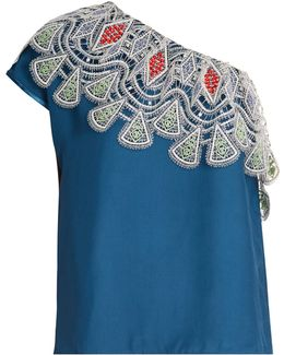 One-shoulder Embroidered-lace Crepe Top