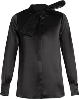 Silk And Tulle-bow Shirt