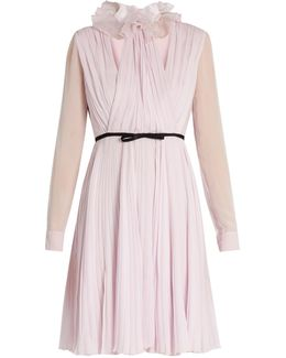 Ruffled-neck Pleated Silk-georgette Dress