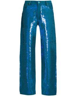 Sequin-embellished Wide-leg Jeans