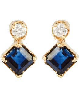 Diamond, Sapphire & Yellow-gold Earrings