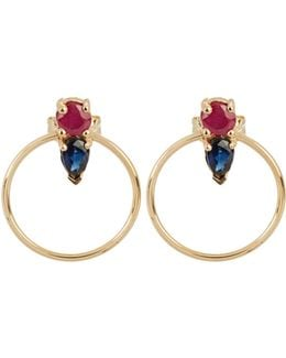 Ruby, Sapphire & Yellow-gold Earrings