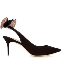 Edie Black Bow-embellished Suede Pumps - Size 3