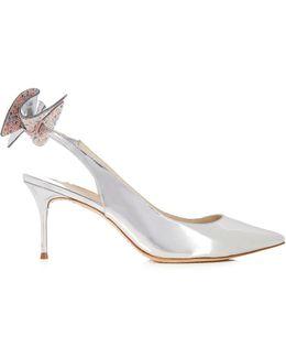 Edie Embellished-bow Slingback Leather Heels
