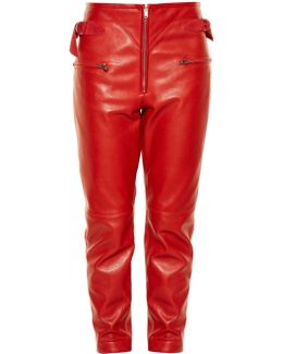 Florrie Slim-leg Leather Trousers