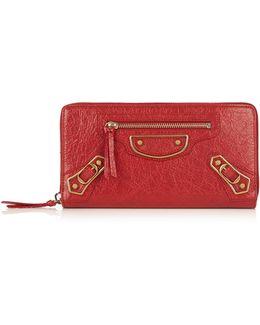 Metallic Edge Zip-around Leather Wallet