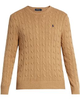 Crew-neck Cable-knit Cotton Sweater