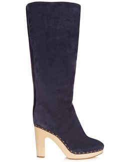 Shearling-lined Suede Block-heel Boots