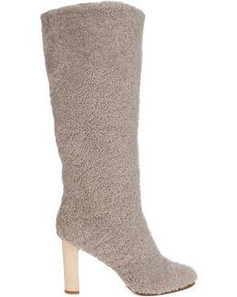 Shearling Block-Heel Boots