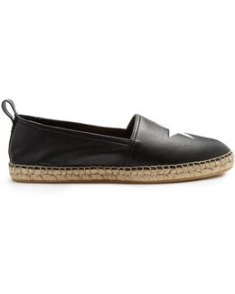 Star-embossed Leather Espadrilles