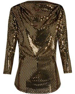 Amber Draped Laminated-print Jersey Top