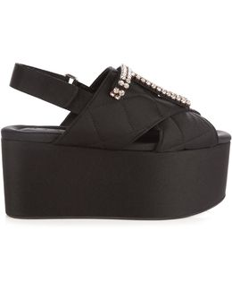 Crystal-embellished Quilted Flatform Sandals