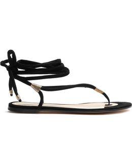 Wraparound Suede Sandals