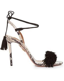 Wild Thing Snakeskin Fringed Sandals