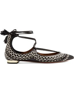 Christy Folk Embroidered Leather Flats