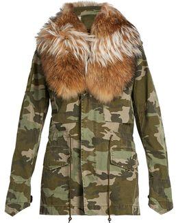 Detached Fur-collar Camouflage-print Parka