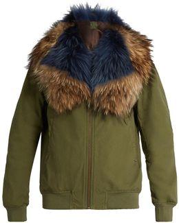 Fur-trimmed Cotton Bomber Jacket