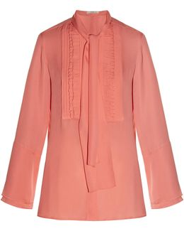 Tie-neck Ruffled-front Silk-crepe Blouse