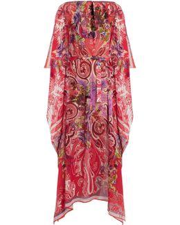 Floral Paisley-print Silk Kaftan