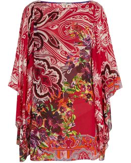 Paisley And Floral-print Crepon Kaftan
