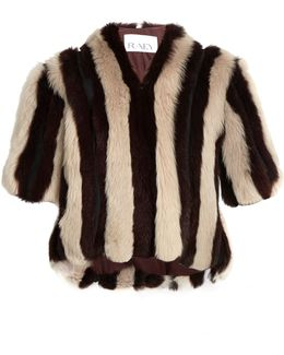 Striped Short Shearling Coat