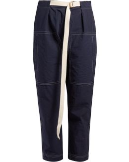 Contrast-stitch Cropped Trousers