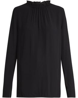 Buttoned-back Ruffled-neck Crepe Blouse