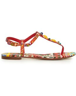 Majolica-print T-bar Leather Sandals
