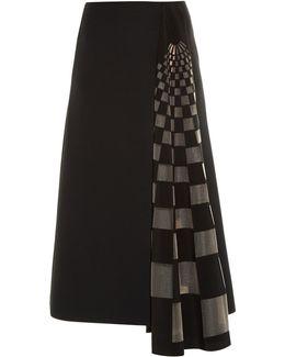 Checked Gazar-insert Midi Skirt