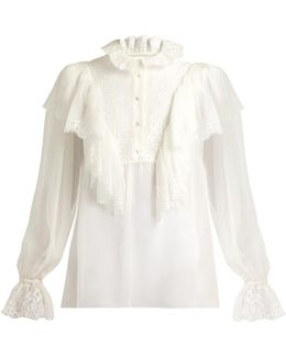 Ruffled Lace And Chiffon Blouse
