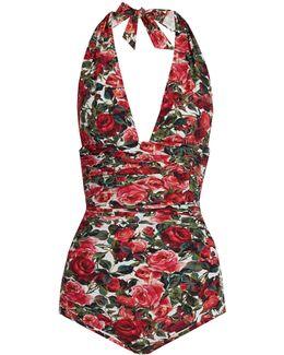 Rose-print Ruched Halterneck Swimsuit