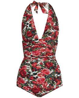 Rose-print Ruched Halterneck Swimsuit