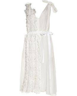 Flower-appliqué Sleeveless Midi Dress