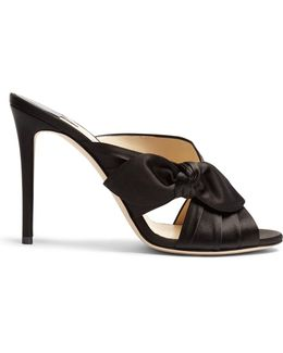 Keely 100mm Side-bow Satin Mules
