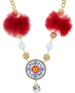 Majolica Fur And Crystal-embellished Necklace