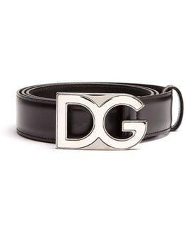Dg-buckle Leather Belt