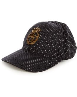 Embroidered Polka-dot Print Cap