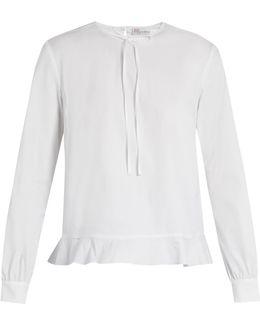 Fluted-hem Cotton-blend Poplin Top