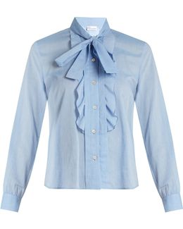 Tie-neck Cotton-voile Shirt