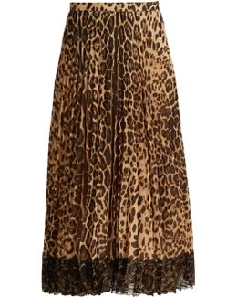 Pleated Leopard-print Midi Skirt