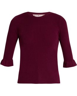 Fluted-cuff Cashmere And Silk-blend Top