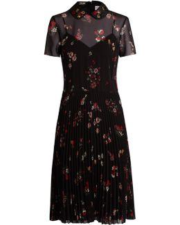 Embellished-collar Short-sleeved Crepe Dress