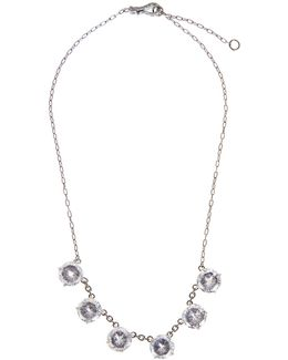 Cubic-zirconia And Oxidised-silver Necklace
