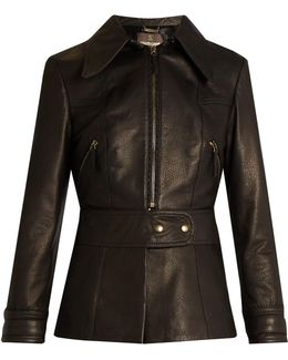 Point-collar Leather Jacket